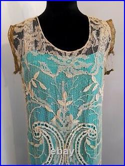 Vintage RARE 1919-22 Lace Net Metallic Evening Dress & Silk Slip