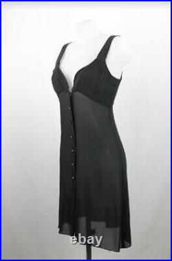Vintage Rare Chanel Black Silk Dress Sexy Party 90s Size S