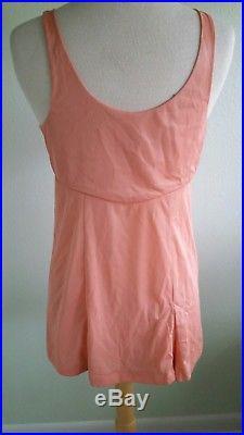 Vintage Rare Mini Dress Full Slip Designed by Ginger Rogers 70's Peach Sz 38