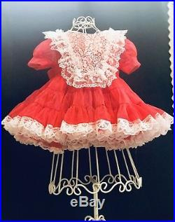 Vintage Red Sheer Nylon Lace Trim Ruffle Baby Dress WithSlip, Patty PlayPal Doll