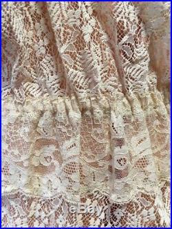 Vintage Reverie All Lace Ecru Dress With Apricot Slip Steampunk L Victorian