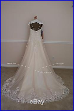 Vintage Rose Wedding Dress Size 8 with a bustle + Bridal Ball Gown Slip