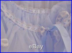 Vintage Ruffled Blue Nightgown Slip Dress Bed Jacket Silk Ribbon Lace Trim