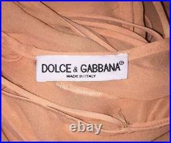 Vintage S/S 1997 Dolce & Gabbana Sheer Peachy Nude Silk Slip Maxi Dress 40