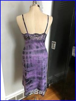 Vintage SAKS FIFTH AVE ribbon knit DRESS (Sz. 4/S) Blue with purple slip 50's