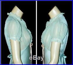 Vintage SHEER 1930's CHIFFON & Satin Lace BIAS CUT Slip Maxi Gown Dress