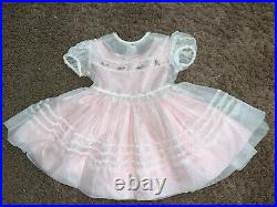 Vintage SHEER Pink Girls Party Dress Size 2/3T With Slip Full Circle Baby Doll
