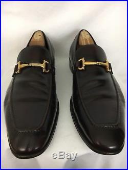 Vintage Salvatore Ferragamo Mens Dress Shoes Leather Brown Loafer Slip Ons 10 EE
