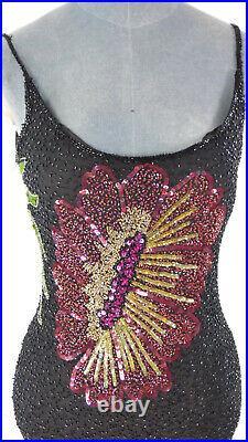 Vintage Serenade Black Fully Beaded Floral Slip Maxi Silk Dress UK 10 Sequin