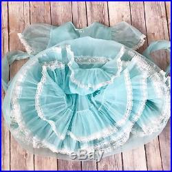 Vintage Sheer Blue Dress 3t Lady Love Nylon Dress AND Matching Slip Ruffles Lace