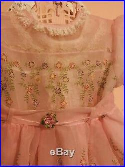 Vintage Sheer Flocked Baby Dress Pink Floral 2t Lace Slip 50s Pastel Girl 2