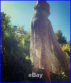 Vintage Sheer Floral Fleur Wood 70s Style Frill dress Maxi Gown Slip 0