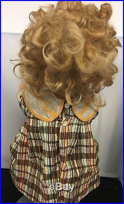Vintage Shirley Temple Doll 1930's Composite Early Original Wig Dress Slip 18