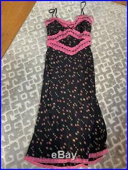 Vintage Silk Betsey Johnson Black Floral Slip Dress 90s Goth Grunge Sexy Lace 8