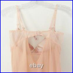 Vintage Silk Victoria's Secret Blush Pink Sheer Babydoll Slip Mini Lingerie 36C