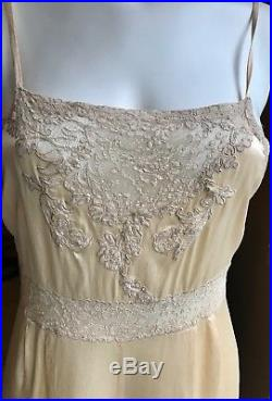 Vintage Slip/Nightgown, LUXURIOUS LINGERIE, silk and lace, 30's, Size 6, Peach