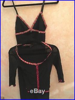Vintage Small Betsey Johnson Mesh Slip Dress + Mesh Cardigan Black womens
