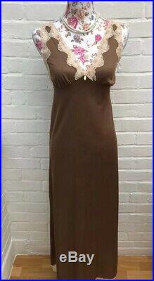 Vintage St Michael M&S Brown Slip Under Garment Night Dress Nightie Small XS