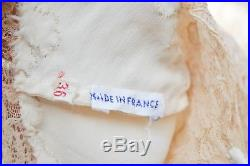 Vintage Stunning French Couture Slip Dress Beige Silk Taupe Floral Lace EUC #5