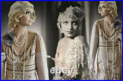 Vintage Style Dress Cream Silver Ivory Evening Gown US 6-8 Downton Abbey Gatsby