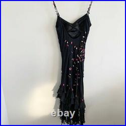 Vintage Sue Wong Slip Dress Rose Bud Embroidered S
