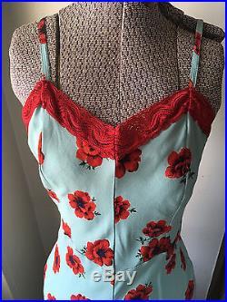 Vintage Sz Small Betsey Johnson Slip Dress Robins Egg Blue Poppy Print Red Lace