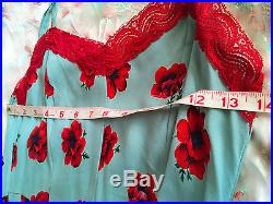 Vintage Sz Small Betsey Johnson Slip Dress Robins Egg Blue Poppy Print Red Lace