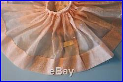 Vintage Tagged Madame Alexander Elise Sheer Shell Pink Dress& Flocked Slip 1958