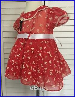 Vintage Tagged Styled By Donna Girls Toddlers Red Sheer Dress with Attached Slip