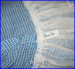 Vintage Terri Lee 16 Brunette Doll in Blue Check Dress & Can-Can Panties Slip