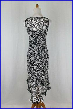 Vintage Tessuto Black and White Floral Print Silk Dress with Slip Liner XS