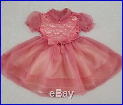 Vintage Toddler Girls Sheer Pink Nylon Lace Party Dress Childrens Clothes Slip