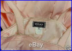 Vintage VERSACE JEANS COUTURE pink dress with pink & white checkerboard slip 44