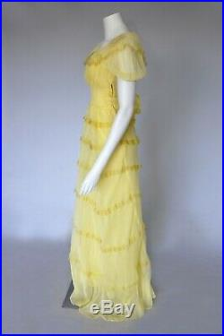 Vintage VTG 40s Yellow Chiffon Sheer Gown Puff Sleeves Belted Tiered Slip S/M