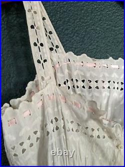 Vintage Victorian Dress Slip With Corset Cover Eyelet White Pink Ribbon S M