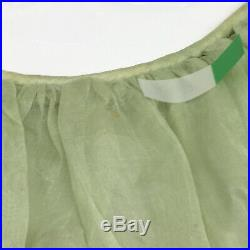 Vintage Victorian Petticoat Slip Dress Green Sheer Western Bustle RARE S / M