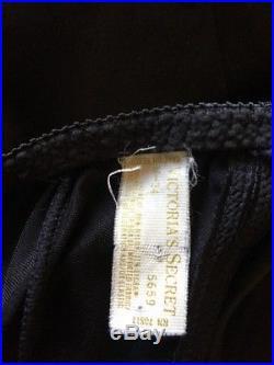 Vintage Victorias Secret Black Satin Nightgown Slip-Dress 34B Medium USA Made