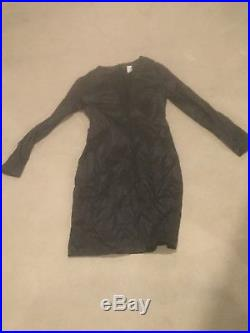 Vintage Victorias Secret Black Satin Sexy Black Dress Deep V 10 M Hugo Buscati