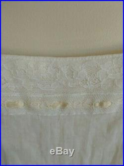 Vintage Wedding Dress Lace w Matching Slip 100% Superfine Cotton Off White Sz XS