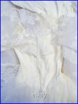 Vintage Wedding Dress Veil slip XLONG train lace beads puffy sleeves gorgeous 8