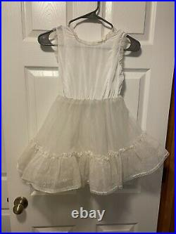 Vintage White Lace Girls Dress Size 8 Pageant Party Her Majesty Slip 1950s 1960s
