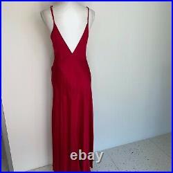 Vintage Womens Red Silk Bias Cut Slip Maxi Dress V Neck Back Side Splits