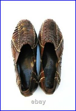 Vintage Woven Leather Cole Haan Resort Mens Weave Slip On Shoes 7.5 B Sandals
