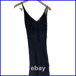 Vintage Y2K Betsey Johnson Black Beaded Silk Slip Dress 4