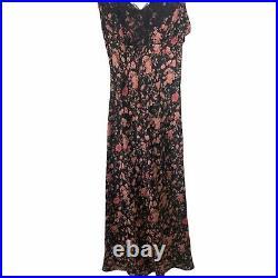 Vintage Y2K Betsey Johnson Black Floral Silk Slip Dress 6