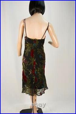 Vintage Y2K Betsey Johnson Slip Dress Slinky Black with Burnout Velvet Floral L
