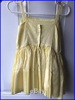 Vintage Yellow Sheer Girls Party Dress Size 3 Length 20 + Slip Set Full Circle