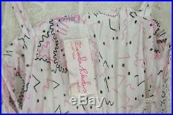Vintage Zandra Rhodes Slip Nightgown M Pink Print Pleated Negligee Dress Medium