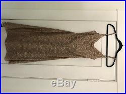 Vintage calvin klein bias cut slip dress with cowl neck beige white polka dot