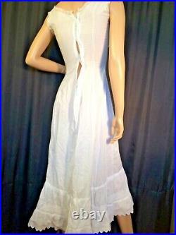 Vintage cotton Maxi slip Chemise white Dress petticoat Victorian lace Shift XS